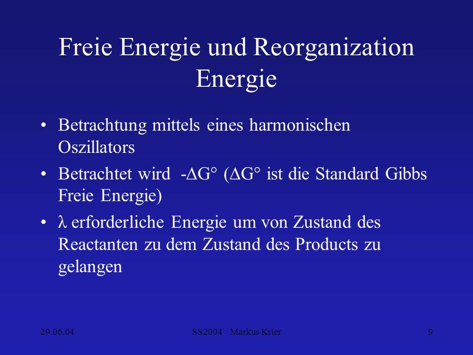 29.06.04SS2004 Markus Krier9 Freie Energie und Reorganization Energie Betrachtung mittels eines harmonischen Oszillators Betrachtet wird -G° (G° ist d