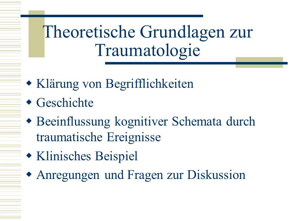 Theoretische Grundlagen zur Traumatologie Klärung von Begrifflichkeiten Geschichte Beeinflussung kognitiver Schemata durch traumatische Ereignisse Kli