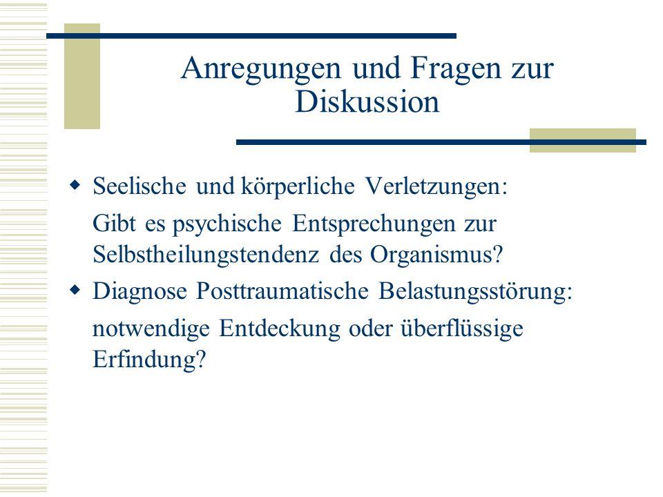 Anregungen und Fragen zur Diskussion Seelische und körperliche Verletzungen: Gibt es psychische Entsprechungen zur Selbstheilungstendenz des Organismu