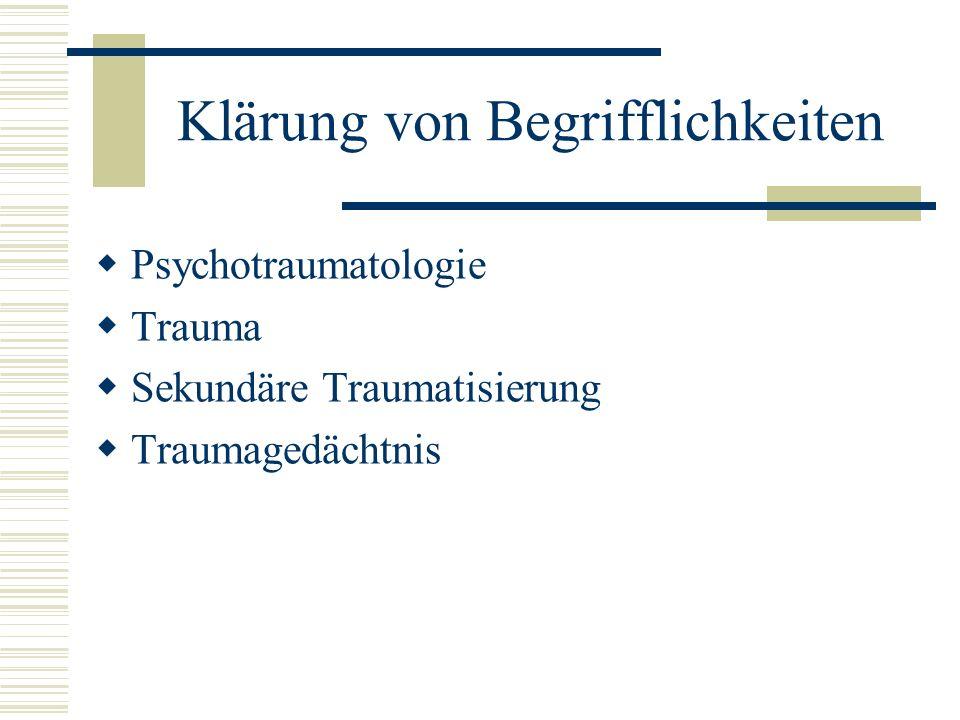 Klärung von Begrifflichkeiten Psychotraumatologie Trauma Sekundäre Traumatisierung Traumagedächtnis