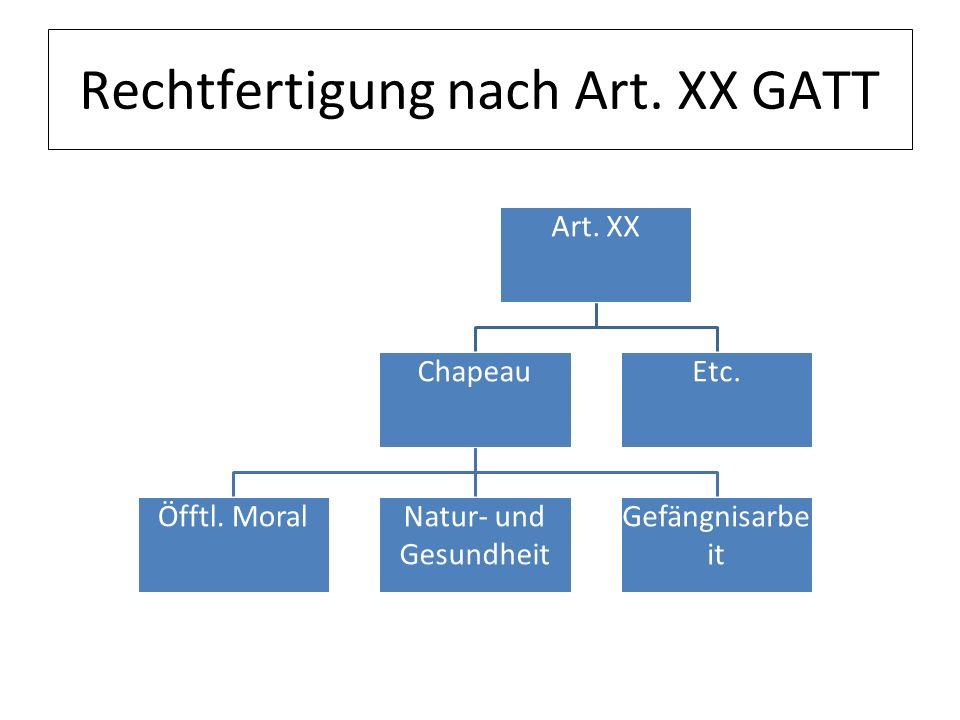 Rechtfertigung nach Art. XX GATT Art. XX Chapeau Öfftl. MoralNatur- und Gesundheit Gefängnisarbe it Etc.