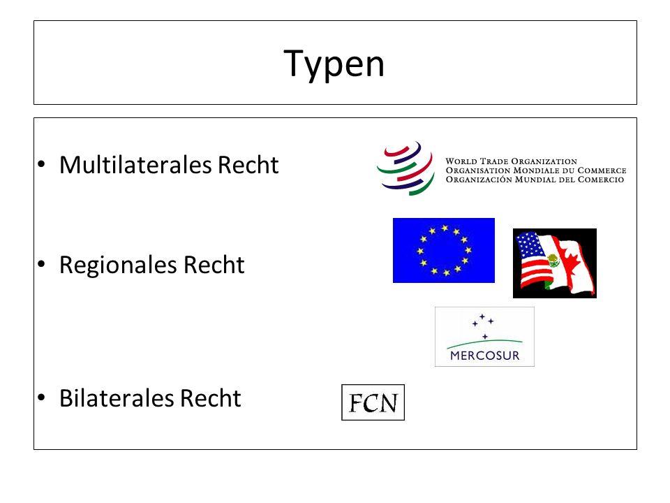 Typen Multilaterales Recht Regionales Recht Bilaterales Recht