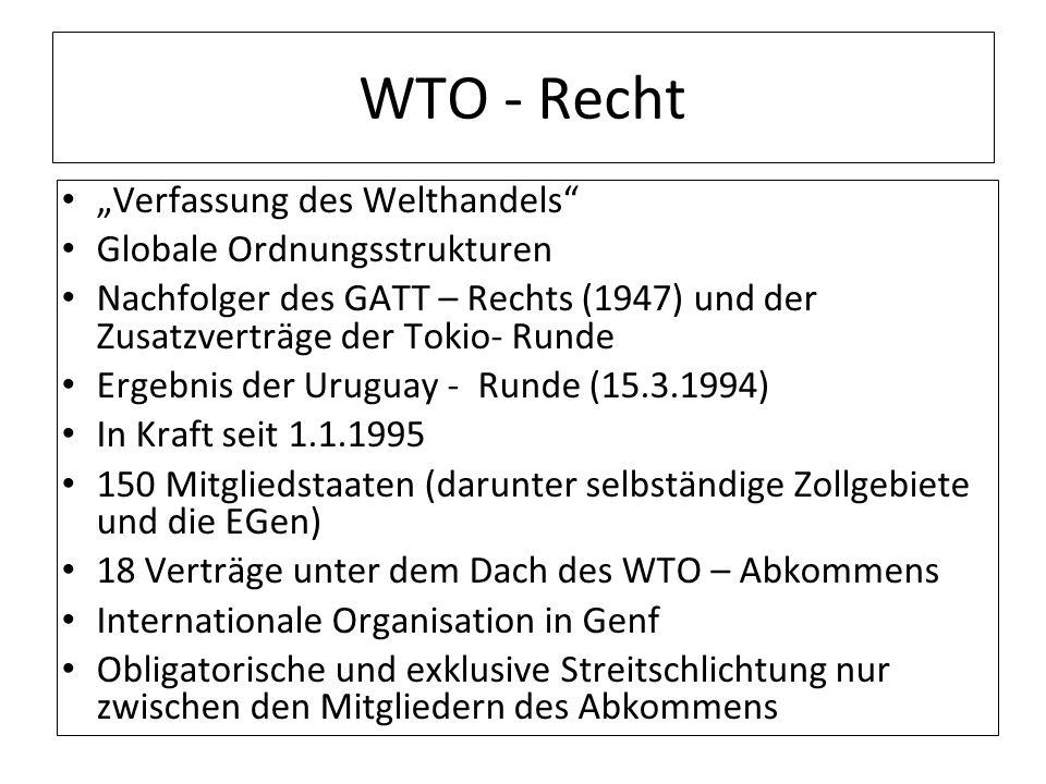 WTO - Recht Verfassung des Welthandels Globale Ordnungsstrukturen Nachfolger des GATT – Rechts (1947) und der Zusatzverträge der Tokio- Runde Ergebnis