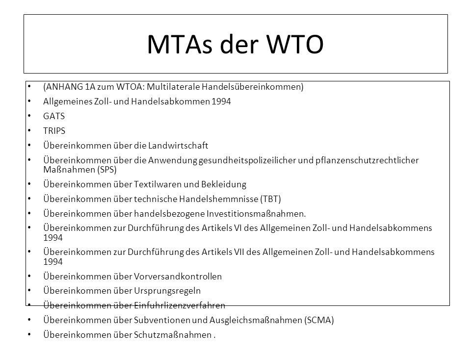 MTAs der WTO (ANHANG 1A zum WTOA: Multilaterale Handelsübereinkommen) Allgemeines Zoll- und Handelsabkommen 1994 GATS TRIPS Übereinkommen über die Lan