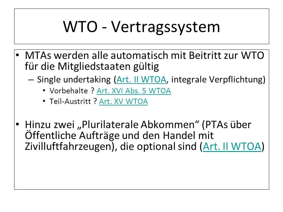 WTO - Vertragssystem MTAs werden alle automatisch mit Beitritt zur WTO für die Mitgliedstaaten gültig – Single undertaking (Art. II WTOA, integrale Ve