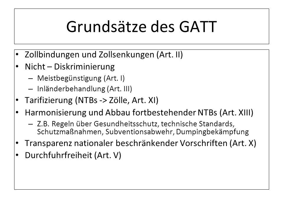Grundsätze des GATT Zollbindungen und Zollsenkungen (Art. II) Nicht – Diskriminierung – Meistbegünstigung (Art. I) – Inländerbehandlung (Art. III) Tar