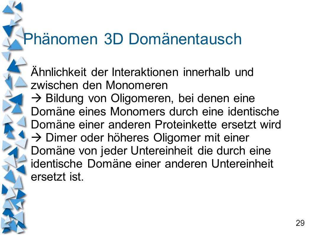 29 Phänomen 3D Domänentausch Ähnlichkeit der Interaktionen innerhalb und zwischen den Monomeren Bildung von Oligomeren, bei denen eine Domäne eines Mo
