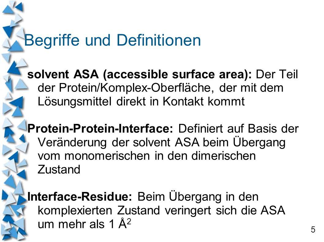 5 Begriffe und Definitionen solvent ASA (accessible surface area): Der Teil der Protein/Komplex-Oberfläche, der mit dem Lösungsmittel direkt in Kontak