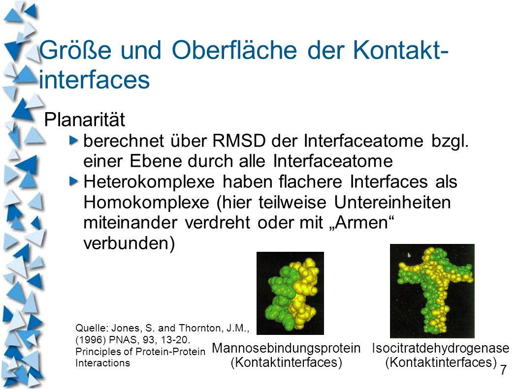 7 Größe und Oberfläche der Kontakt- interfaces Planarität berechnet über RMSD der Interfaceatome bzgl. einer Ebene durch alle Interfaceatome Heterokom