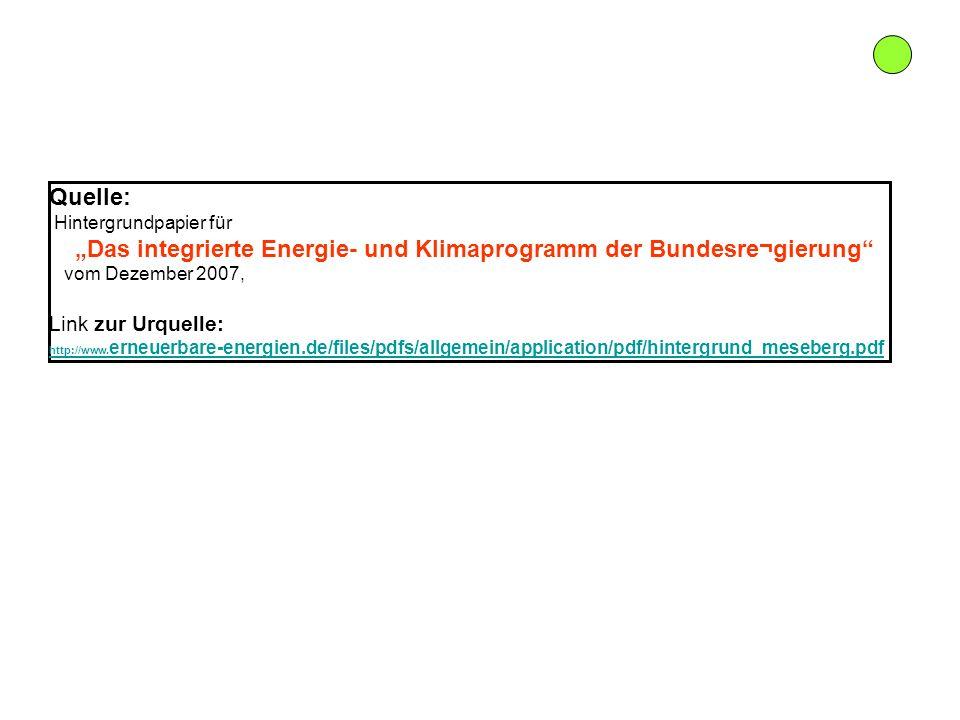 Quelle: Hintergrundpapier für Das integrierte Energie- und Klimaprogramm der Bundesre¬gierung vom Dezember 2007, Link zur Urquelle: http://www. erneue