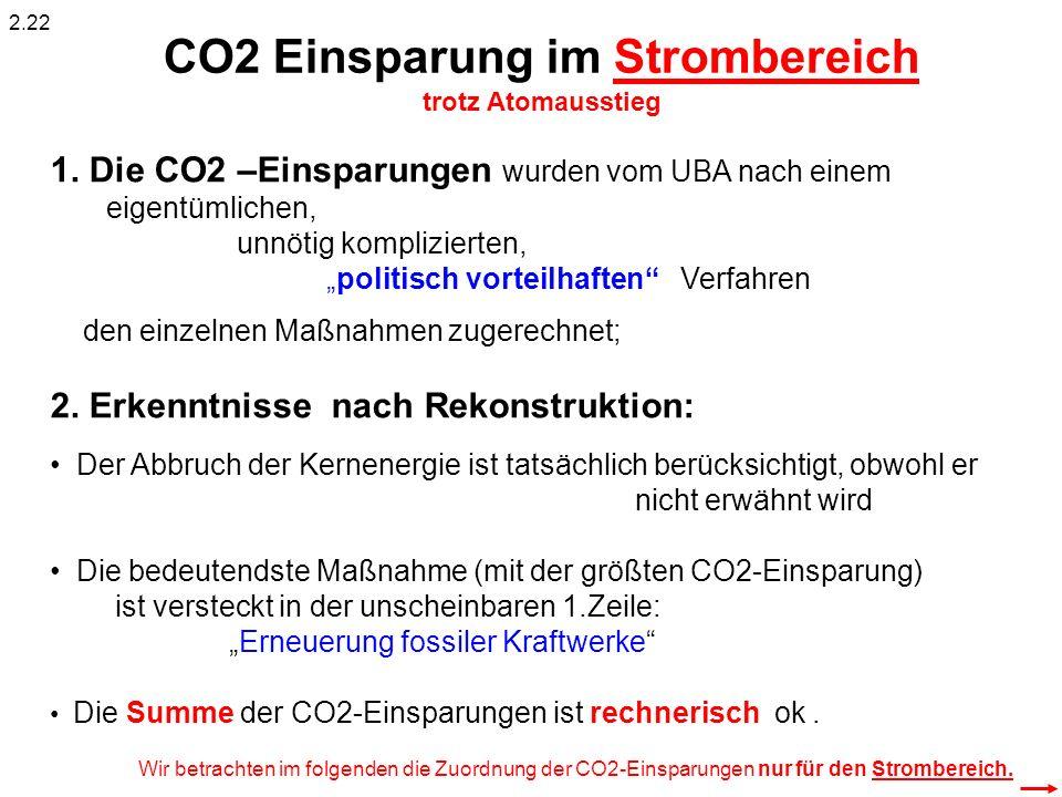 1. Die CO2 –Einsparungen wurden vom UBA nach einem eigentümlichen, unnötig komplizierten, politisch vorteilhaften Verfahren den einzelnen Maßnahmen zu