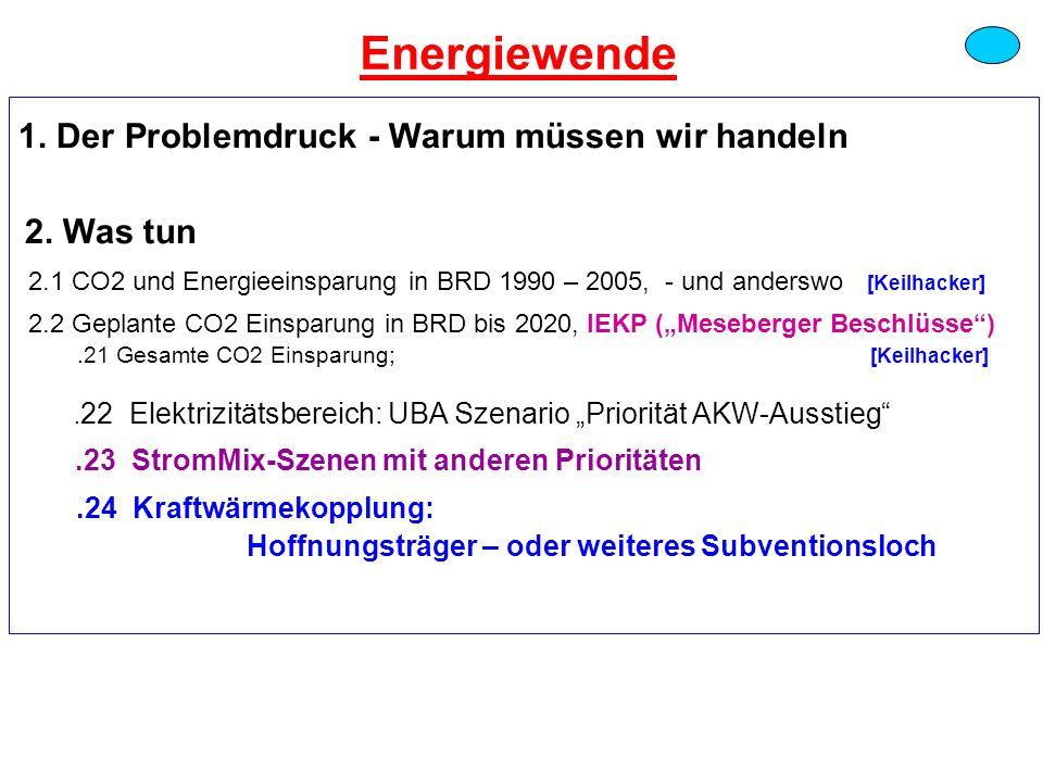 1. Der Problemdruck - Warum müssen wir handeln 2. Was tun 2.1 CO2 und Energieeinsparung in BRD 1990 – 2005, - und anderswo [Keilhacker] 2.2 Geplante C