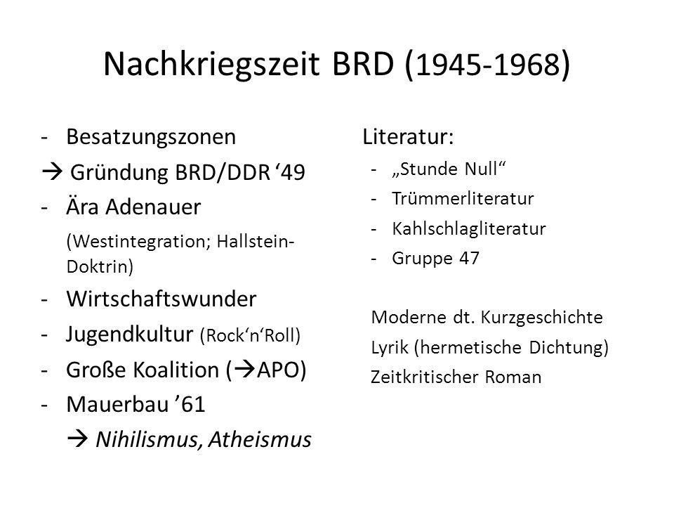Nachkriegszeit BRD ( 1945-1968 ) -Besatzungszonen Gründung BRD/DDR 49 -Ära Adenauer (Westintegration; Hallstein- Doktrin) -Wirtschaftswunder -Jugendku