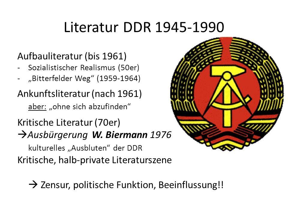 Literatur DDR 1945-1990 Aufbauliteratur (bis 1961) -Sozialistischer Realismus (50er) -Bitterfelder Weg (1959-1964) Ankunftsliteratur (nach 1961) aber: