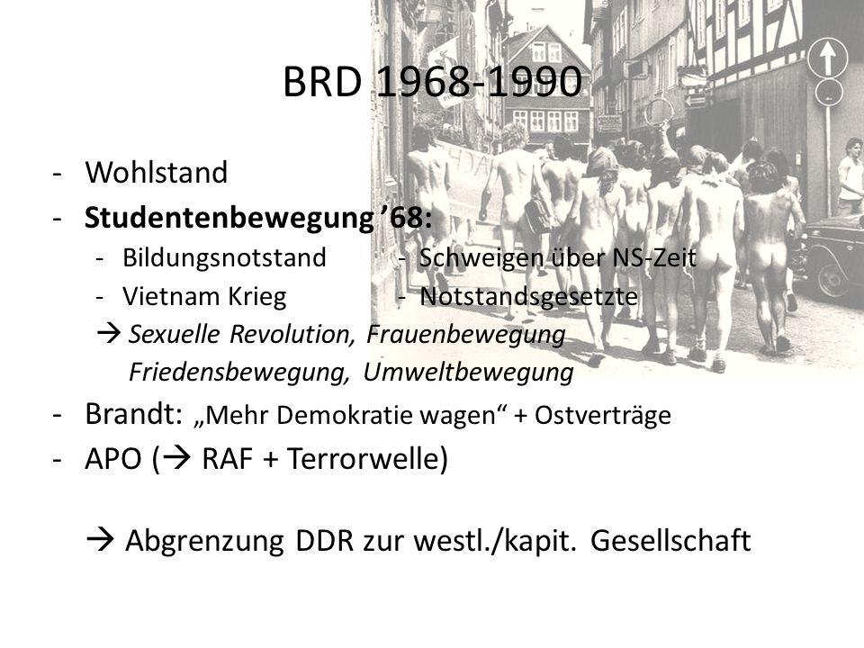 BRD 1968-1990 -Wohlstand -Studentenbewegung 68: -Bildungsnotstand- Schweigen über NS-Zeit -Vietnam Krieg- Notstandsgesetzte Sexuelle Revolution, Fraue