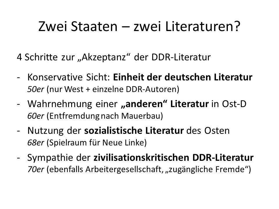 Zwei Staaten – zwei Literaturen? 4 Schritte zur Akzeptanz der DDR-Literatur -Konservative Sicht: Einheit der deutschen Literatur 50er (nur West + einz