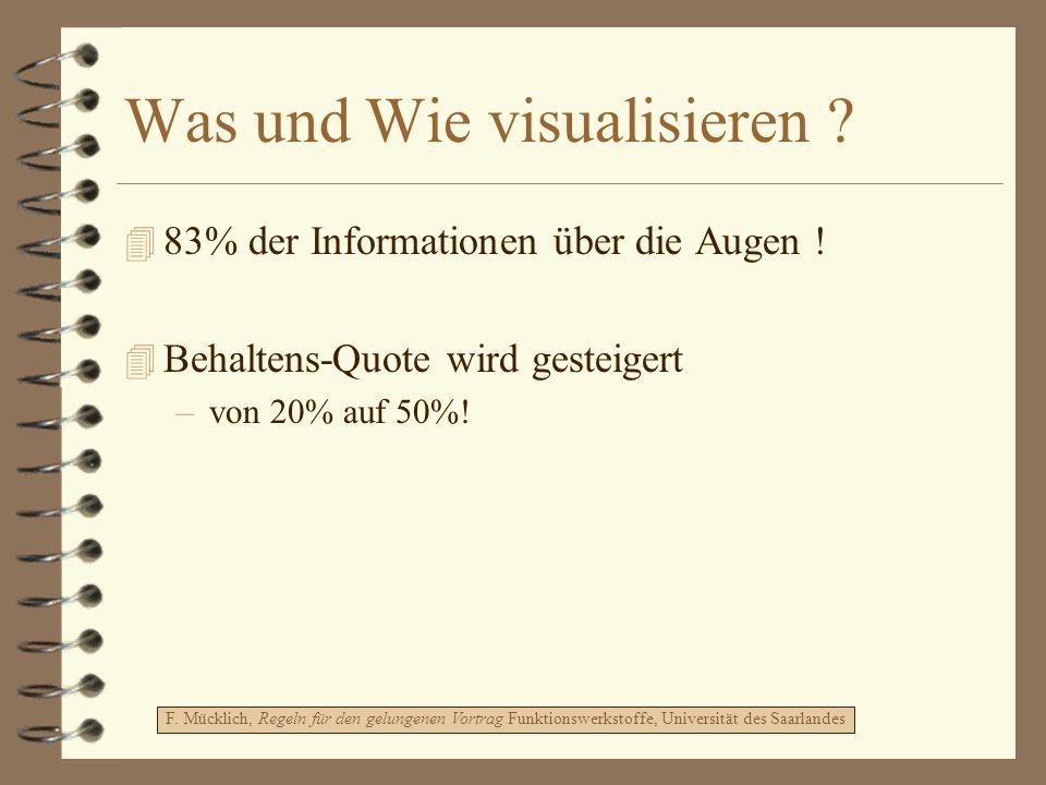 Was und Wie visualisieren ? 4 83% der Informationen über die Augen ! 4 Behaltens-Quote wird gesteigert –von 20% auf 50%! F. Mücklich, Regeln für den g