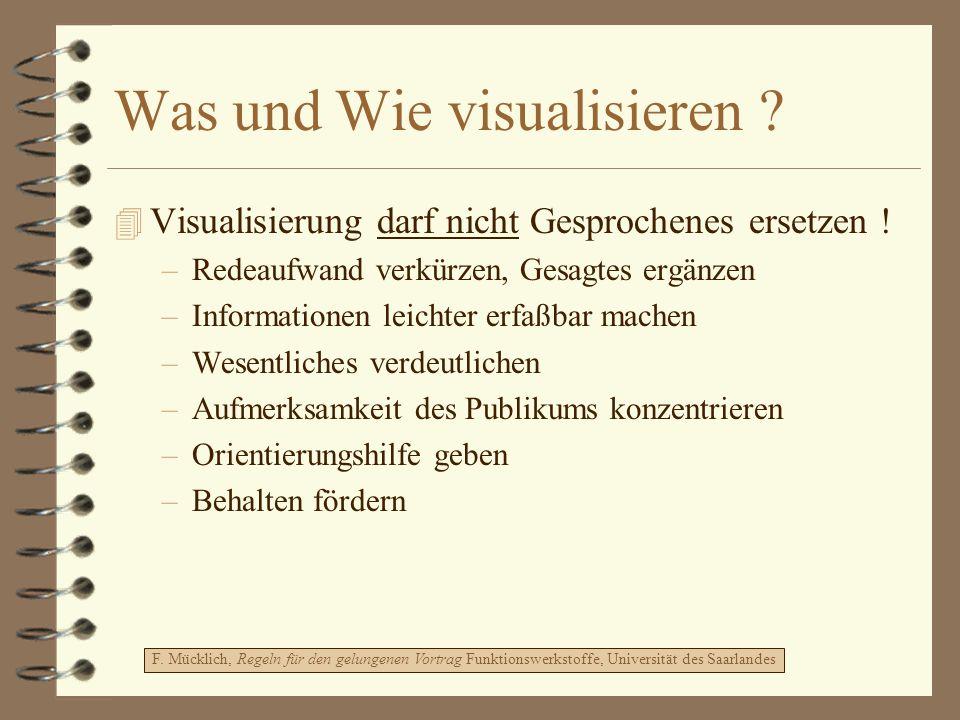 Was und Wie visualisieren ? 4 Visualisierung darf nicht Gesprochenes ersetzen ! –Redeaufwand verkürzen, Gesagtes ergänzen –Informationen leichter erfa