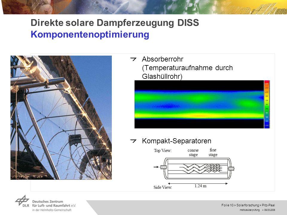 Institutsüberprüfung > 09.03.2006 Folie 10 > Solarforschung > Pitz-Paal Direkte solare Dampferzeugung DISS Komponentenoptimierung Absorberrohr (Temper