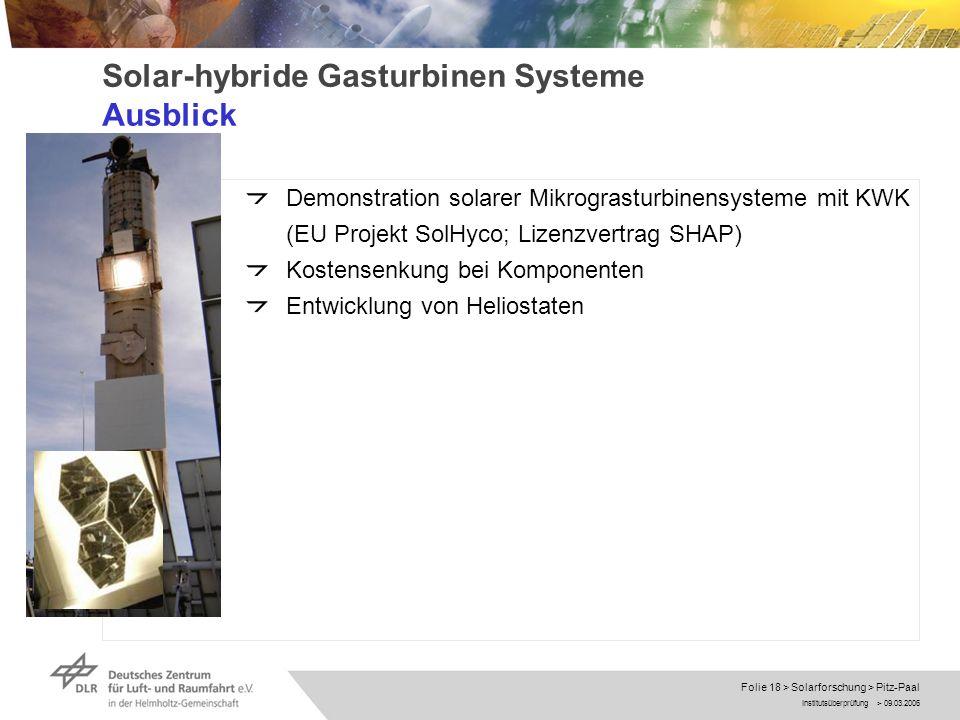 Institutsüberprüfung > 09.03.2006 Folie 18 > Solarforschung > Pitz-Paal Solar-hybride Gasturbinen Systeme Ausblick Demonstration solarer Mikrograsturb
