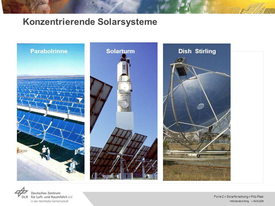 Institutsüberprüfung > 09.03.2006 Folie 13 > Solarforschung > Pitz-Paal Direkte solare Dampferzeugung DISS Ausblick Entwicklung der Speichertechnik Entwicklung Absorberrohr für 500°C Beteiligung an 5 MW Demokraftwerk in Spanien (neben der PSA)