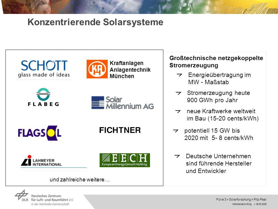 Institutsüberprüfung > 09.03.2006 Folie 3 > Solarforschung > Pitz-Paal Parabolic TroughPower Tower Konzentrierende Solarsysteme Energieübertragung im