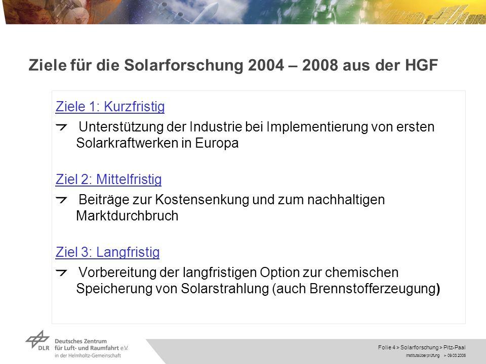 Institutsüberprüfung > 09.03.2006 Folie 5 > Solarforschung > Pitz-Paal Vernetzung RWTH Aachen Uni Stuttgart Solarforschung ITT Speichertechnik Systemanalyse Satelliten fernerkundung Gas turbinen technik DLR DLR Center of Excellence Konzentrierende Solarsysteme 2006 – 2008 Industrie CIEMAT SOLLAB SolarPACES
