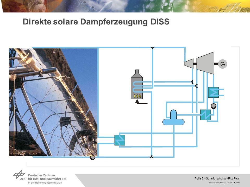 Institutsüberprüfung > 09.03.2006 Folie 7 > Solarforschung > Pitz-Paal Direkte solare Dampferzeugung DISS Thermohydraulik