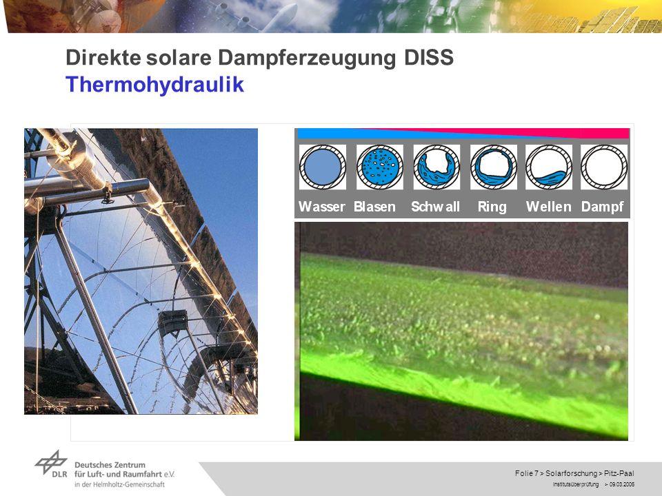 Institutsüberprüfung > 09.03.2006 Folie 18 > Solarforschung > Pitz-Paal Solar-hybride Gasturbinen Systeme Ausblick Demonstration solarer Mikrograsturbinensysteme mit KWK (EU Projekt SolHyco; Lizenzvertrag SHAP) Kostensenkung bei Komponenten Entwicklung von Heliostaten
