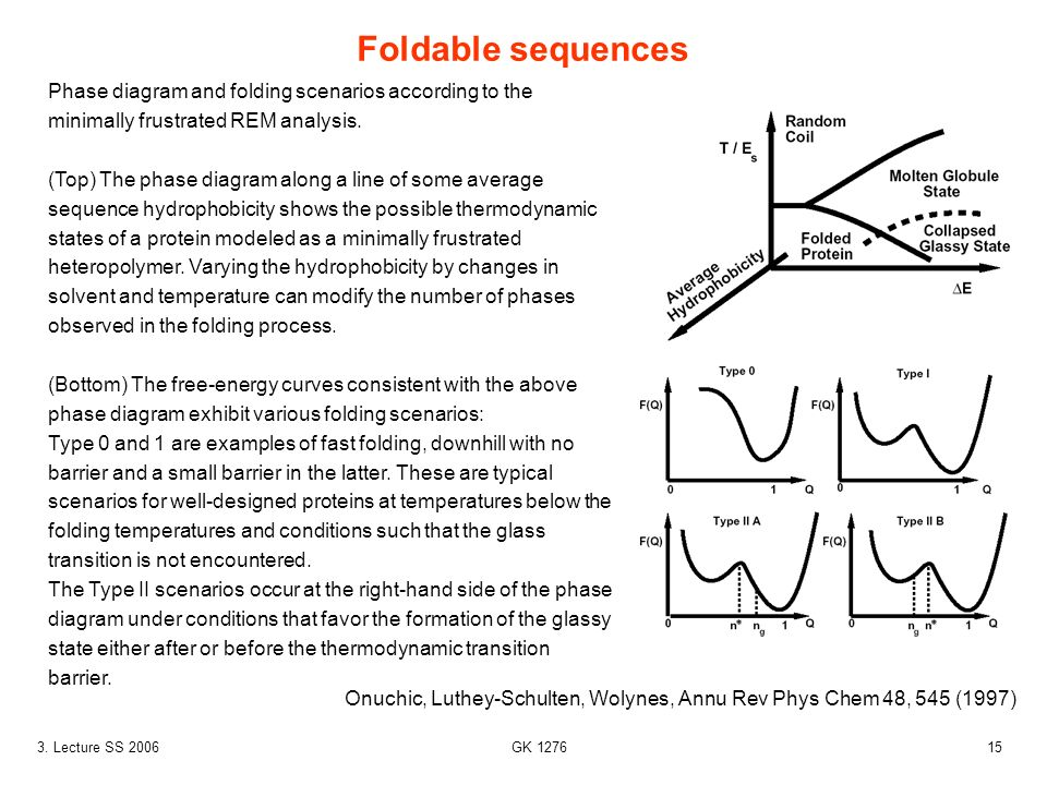 153. Lecture SS 2006 GK 1276 Foldable sequences Onuchic, Luthey-Schulten, Wolynes, Annu Rev Phys Chem 48, 545 (1997) Phase diagram and folding scenari