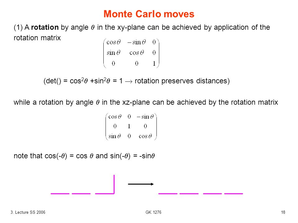 183. Lecture SS 2006 GK 1276 Monte Carlo moves (1) A rotation by angle in the xy-plane can be achieved by application of the rotation matrix (det() =