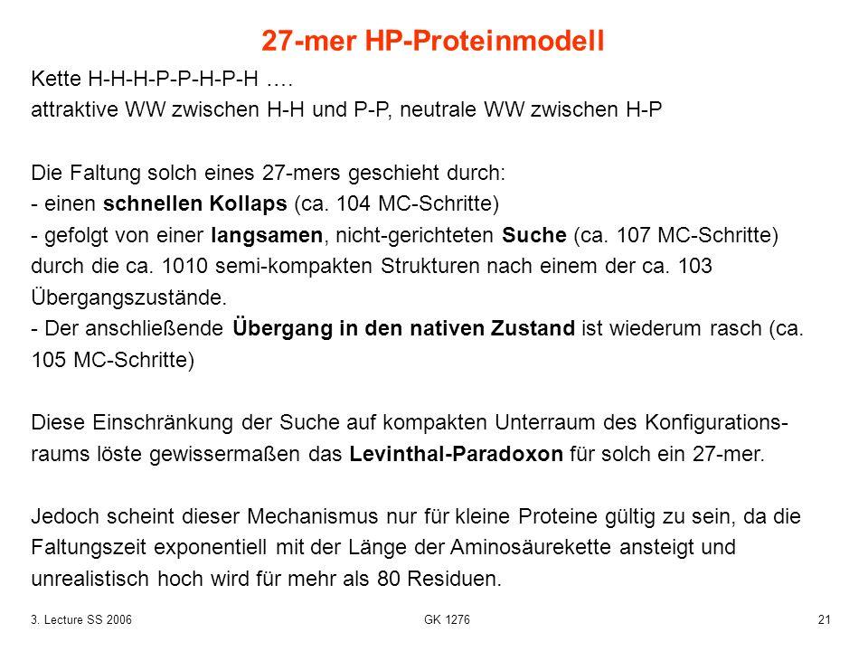 213. Lecture SS 2006 GK 1276 Kette H-H-H-P-P-H-P-H …. attraktive WW zwischen H-H und P-P, neutrale WW zwischen H-P Die Faltung solch eines 27-mers ges