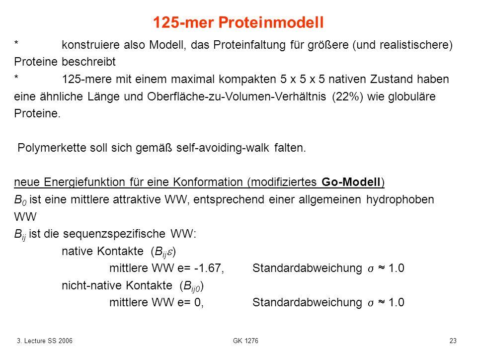233. Lecture SS 2006 GK 1276 *konstruiere also Modell, das Proteinfaltung für größere (und realistischere) Proteine beschreibt *125-mere mit einem max