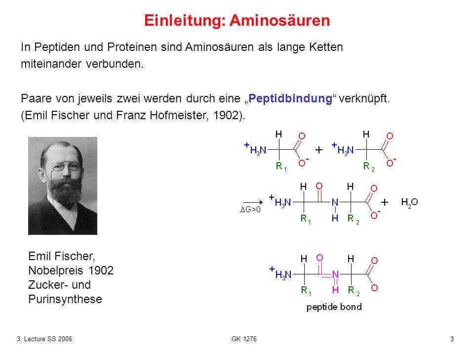 33. Lecture SS 2006 GK 1276 In Peptiden und Proteinen sind Aminosäuren als lange Ketten miteinander verbunden. Paare von jeweils zwei werden durch ein