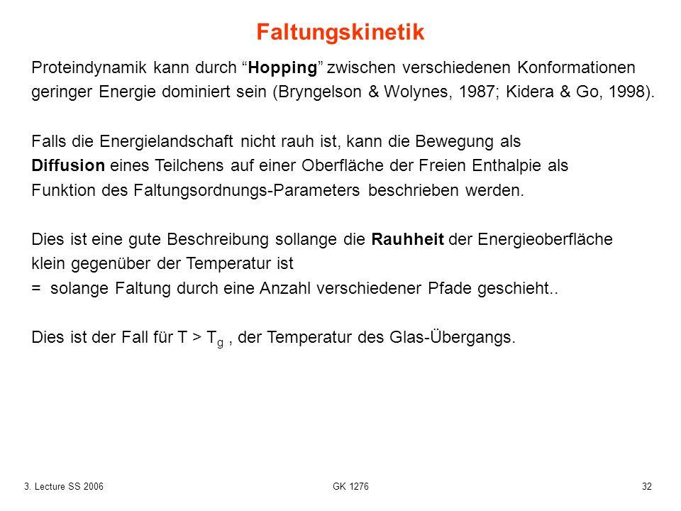 323. Lecture SS 2006 GK 1276 Proteindynamik kann durch Hopping zwischen verschiedenen Konformationen geringer Energie dominiert sein (Bryngelson & Wol
