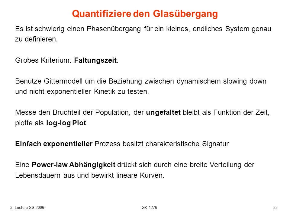 333. Lecture SS 2006 GK 1276 Es ist schwierig einen Phasenübergang für ein kleines, endliches System genau zu definieren. Grobes Kriterium: Faltungsze