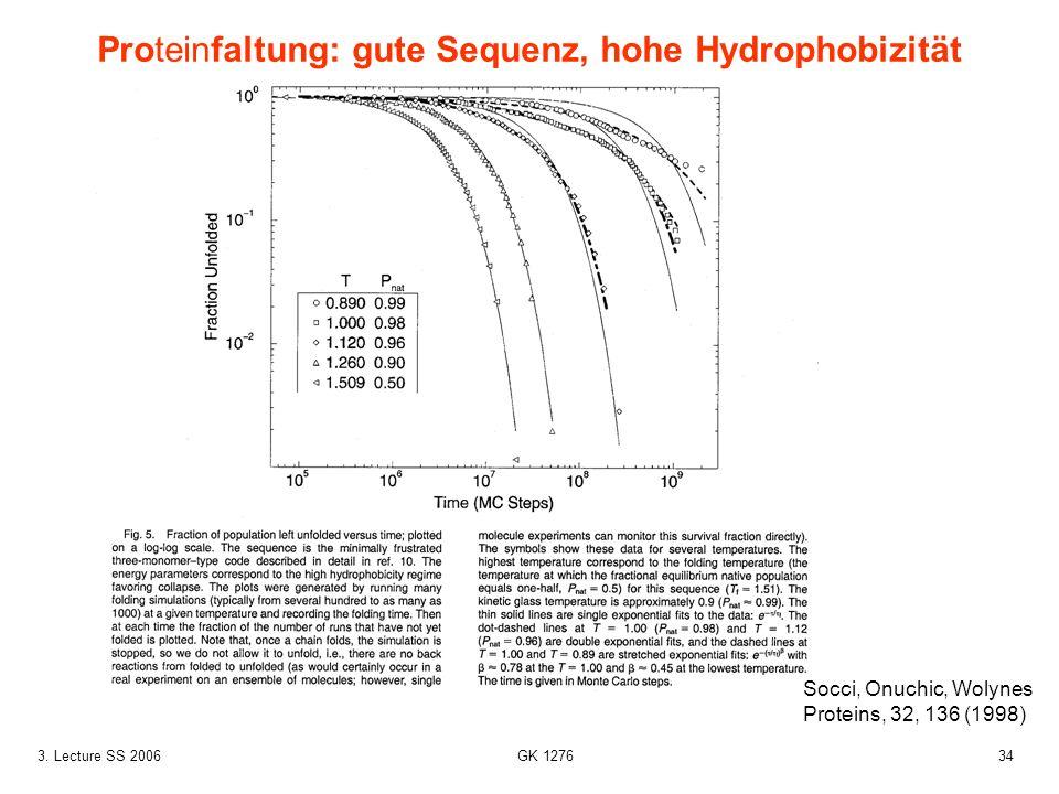 343. Lecture SS 2006 GK 1276 Proteinfaltung: gute Sequenz, hohe Hydrophobizität Socci, Onuchic, Wolynes Proteins, 32, 136 (1998)