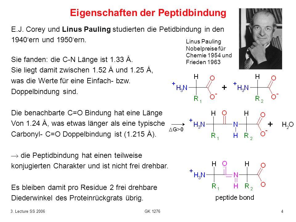 43. Lecture SS 2006 GK 1276 E.J. Corey und Linus Pauling studierten die Petidbindung in den 1940ern und 1950ern. Sie fanden: die C-N Länge ist 1.33 Å.
