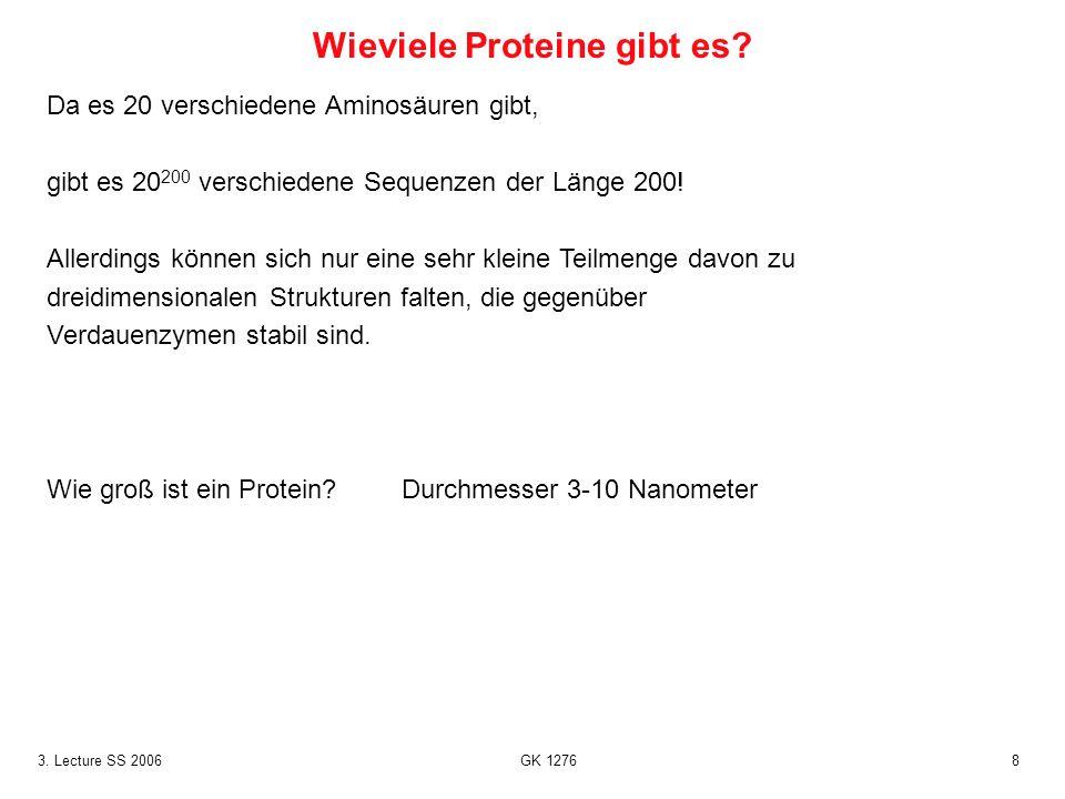 83. Lecture SS 2006 GK 1276 Da es 20 verschiedene Aminosäuren gibt, gibt es 20 200 verschiedene Sequenzen der Länge 200! Allerdings können sich nur ei