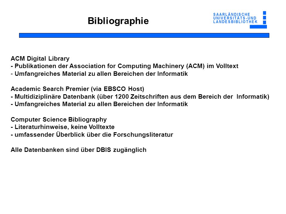 Bibliographie ACM Digital Library - Publikationen der Association for Computing Machinery (ACM) im Volltext - Umfangreiches Material zu allen Bereiche