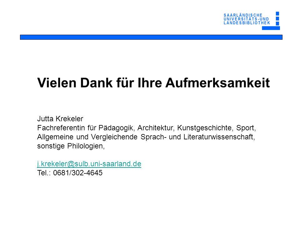 Jutta Krekeler Fachreferentin für Pädagogik, Architektur, Kunstgeschichte, Sport, Allgemeine und Vergleichende Sprach- und Literaturwissenschaft, sons