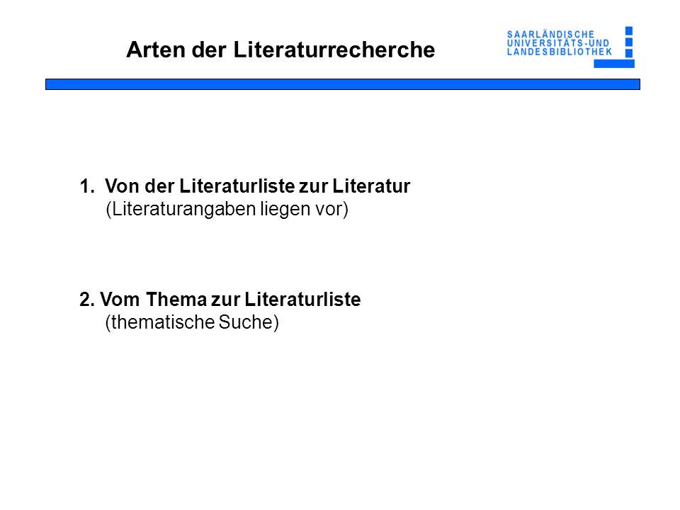 Arten der Literaturrecherche 1.Von der Literaturliste zur Literatur (Literaturangaben liegen vor) 2. Vom Thema zur Literaturliste (thematische Suche)