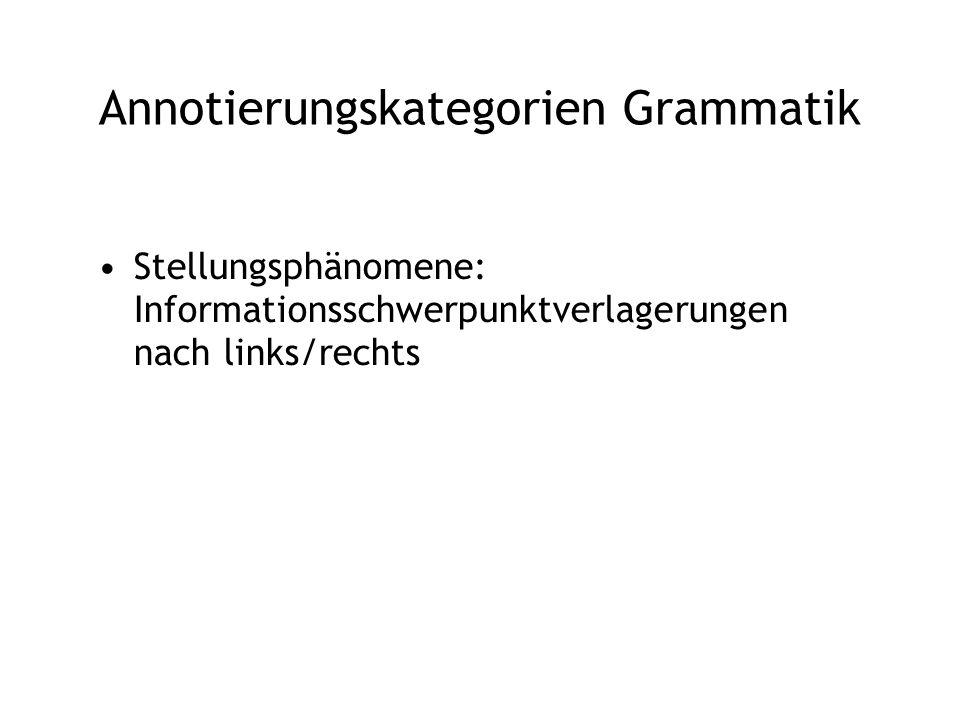 Annotierungskategorien Grammatik Stellungsphänomene: Informationsschwerpunktverlagerungen nach links/rechts