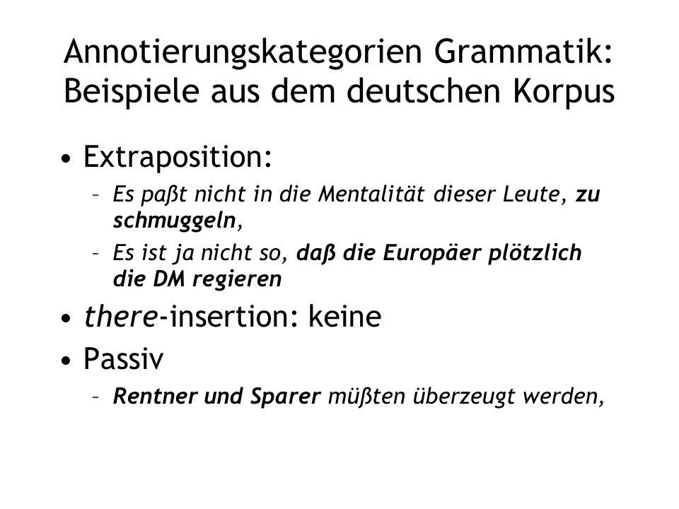 Annotierungskategorien Grammatik: Beispiele aus dem deutschen Korpus Extraposition: –Es paßt nicht in die Mentalität dieser Leute, zu schmuggeln, –Es