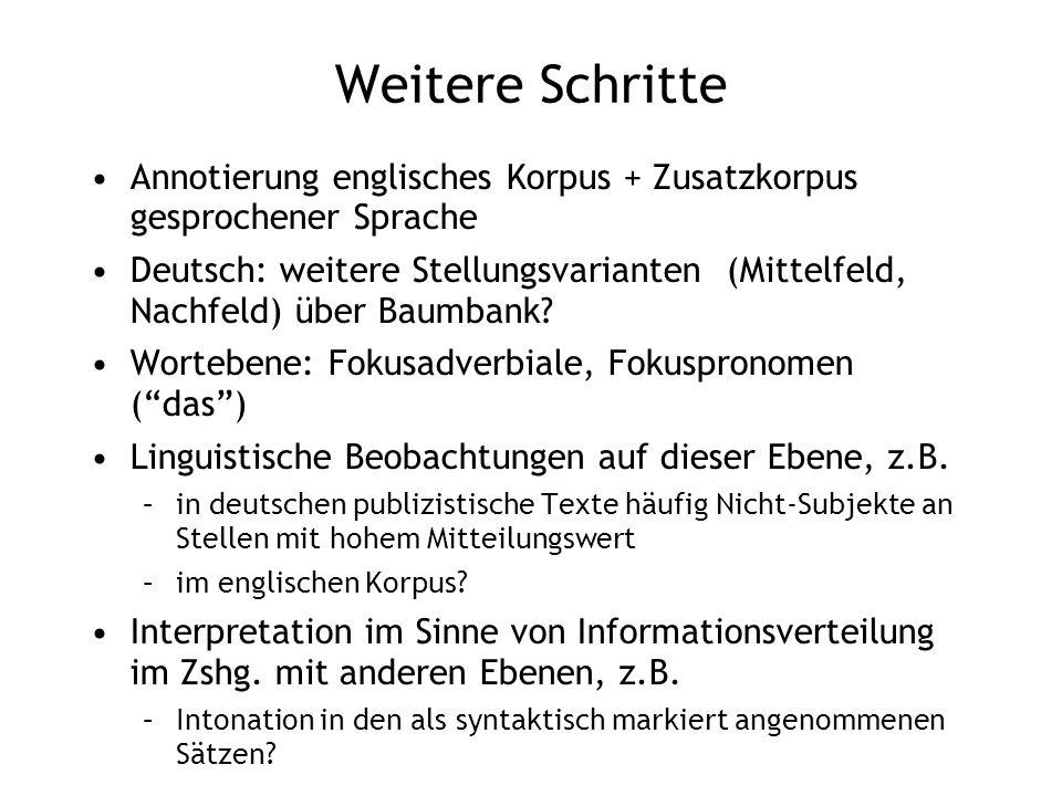 Weitere Schritte Annotierung englisches Korpus + Zusatzkorpus gesprochener Sprache Deutsch: weitere Stellungsvarianten (Mittelfeld, Nachfeld) über Bau