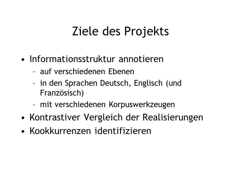 Ziele des Projekts Informationsstruktur annotieren –auf verschiedenen Ebenen –in den Sprachen Deutsch, Englisch (und Französisch) –mit verschiedenen K