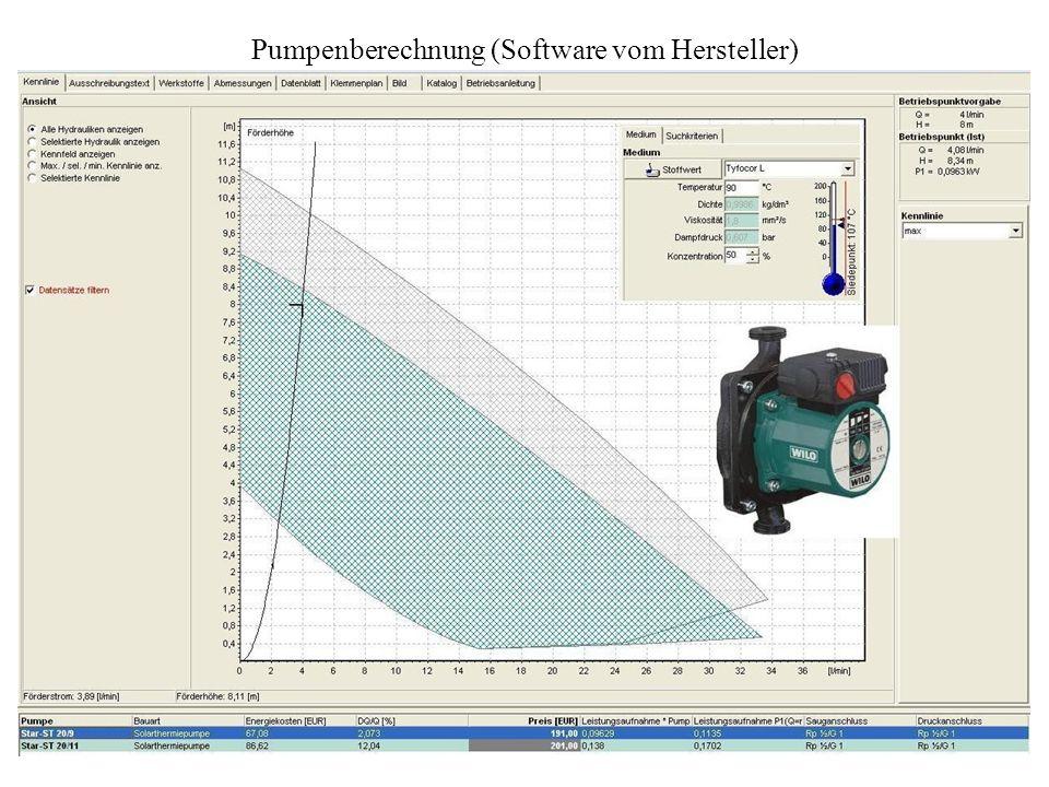 Pumpenberechnung (Software vom Hersteller)