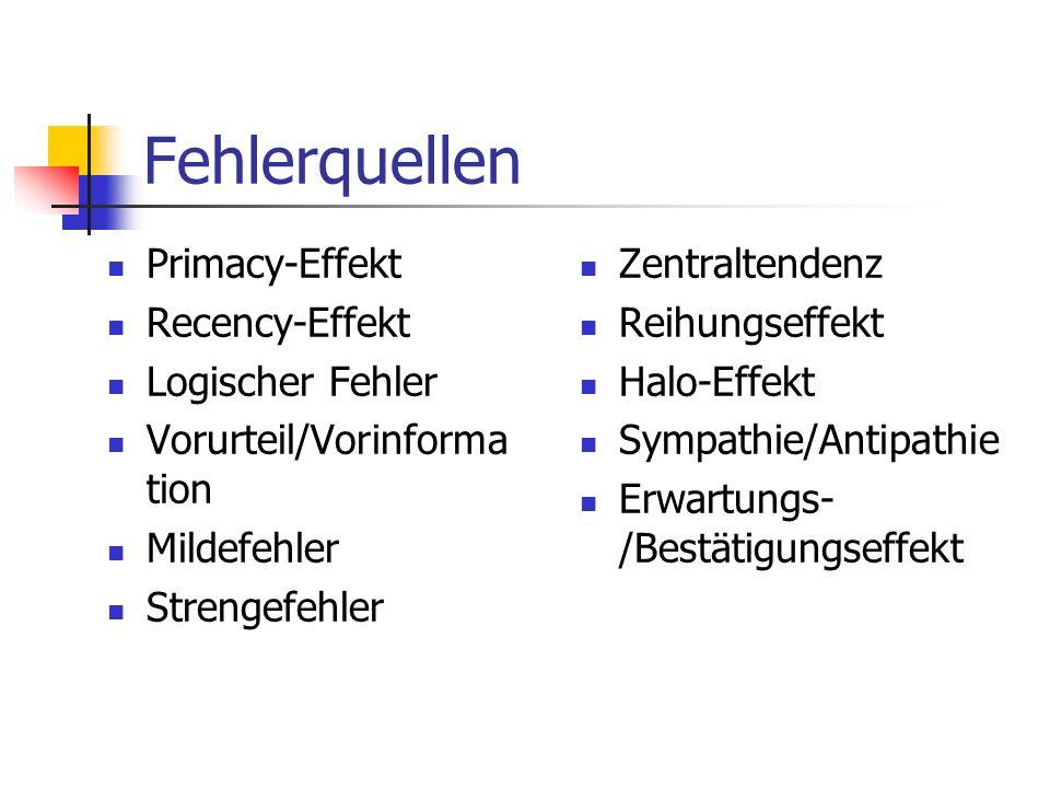 Fehlerquellen Primacy-Effekt Recency-Effekt Logischer Fehler Vorurteil/Vorinforma tion Mildefehler Strengefehler Zentraltendenz Reihungseffekt Halo-Ef
