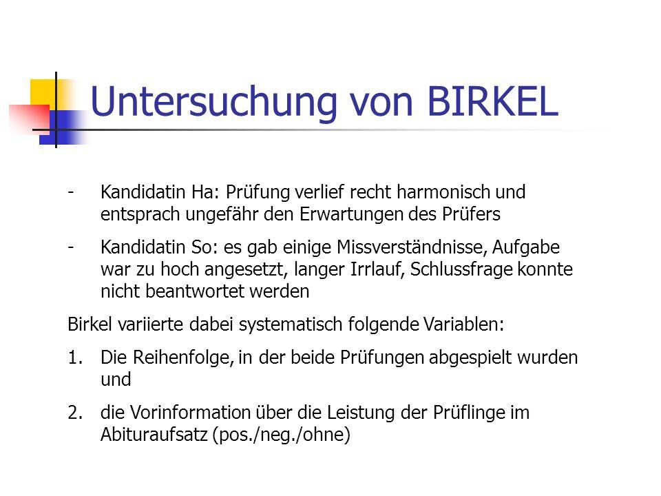 Untersuchung von BIRKEL -Kandidatin Ha: Prüfung verlief recht harmonisch und entsprach ungefähr den Erwartungen des Prüfers -Kandidatin So: es gab ein