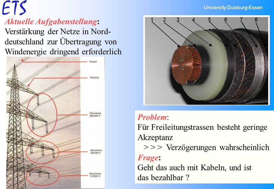 University Duisburg-Essen 2 Aktuelle Aufgabenstellung: Verstärkung der Netze in Nord- deutschland zur Übertragung von Windenergie dringend erforderlic